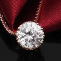 Cubic Zirconia Pendant, 925 Sterling Silver, Flat Round, real rose gold plated, with cubic zirconia & faceted, 7x7mm, Hole:Approx 3-5mm, 3PCs/Lot, Sold By Lot