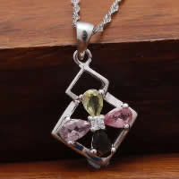 Cubic Zirconia Pendant, 925 Sterling Silver, Rhombus, platinum plated, with cubic zirconia & faceted, 14x16mm, Hole:Approx 3x5mm, 3PCs/Lot, Sold By Lot