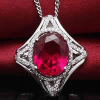Cubic Zirconia Pendant, 925 Sterling Silver, Rhombus, platinum plated, with cubic zirconia & faceted, 21x24mm, Hole:Approx 3-5mm, 3PCs/Lot, Sold By Lot