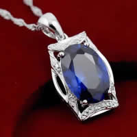 Cubic Zirconia Pendant, 925 Sterling Silver, Rectangle, platinum plated, with cubic zirconia & faceted, 12x18mm, Hole:Approx 3x5mm, 3PCs/Lot, Sold By Lot