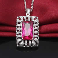 Cubic Zirconia Pendant, 925 Sterling Silver, Rectangle, platinum plated, with cubic zirconia & faceted & hollow, 16x27mm, Hole:Approx 3x5mm, 2PCs/Lot, Sold By Lot