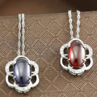 Cubic Zirconia Pendant, 925 Sterling Silver, Flower, platinum plated, with cubic zirconia, more colors for choice, 14.90x18mm, Hole:Approx 3-5mm, 5PCs/Lot, Sold By Lot