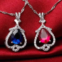 Cubic Zirconia Pendant, 925 Sterling Silver, Teardrop, platinum plated, with cubic zirconia & faceted, more colors for choice, 12x21mm, Hole:Approx 3x5mm, 3PCs/Lot, Sold By Lot