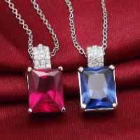 Cubic Zirconia Pendant, 925 Sterling Silver, Rectangle, platinum plated, with cubic zirconia & faceted, more colors for choice, 9x17mm, Hole:Approx 3-5mm, 3PCs/Lot, Sold By Lot