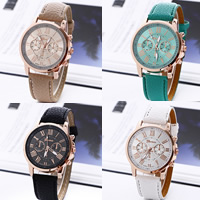 Women Wrist Watch, PU, with Glass & Zinc Alloy, plated, adjustable & for woman, more colors for choice, nickel, lead & cadmium free, 40mm, 20mm, Length:Approx 8 Inch, Sold By PC