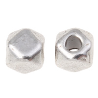 Zinc Alloy Jewelry Beads Polygon antique silver color plated nickel lead   cadmium free 4x4mm Hole:Approx 1.5mm Approx 2703PCs/KG