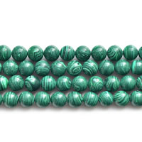 Natural Malachite Beads, Round, different size for choice, Length:Approx 15 Inch, Sold By Lot