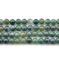 Luonnollinen Moss akaatti helmet, Pyöreä, erikokoisia valinnalle, Pituus:N. 15 tuuma, Myymät erä