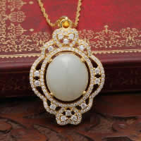 925 Sterling Silver Pendant with Hetian Jade Flat Oval real gold plated micro pave cubic zirconia   hollow 25x32mm Hole:Approx 3x5mm 2PCs/Lot