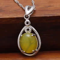 Natural Jade Pendants 925 Sterling Silver with Yellow Calcedony Flat Oval platinum plated 11x18mm Hole:Approx 3x5mm 10PCs/Lot