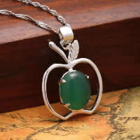 Natural Jade Pendants 925 Sterling Silver with Green Calcedony Apple platinum plated 16x20mm Hole:Approx 3x5mm 10PCs/Lot