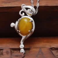 Natural Jade Pendants 925 Sterling Silver with Yellow Calcedony platinum plated 13x24mm Hole:Approx 3x5mm 10PCs/Lot