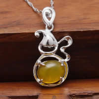 Natural Jade Pendants 925 Sterling Silver with Yellow Calcedony Calabash platinum plated hollow 14x21mm Hole:Approx 3x5mm 10PCs/Lot