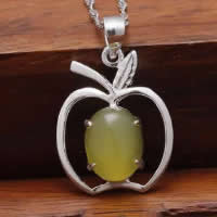 Natural Jade Pendants 925 Sterling Silver with Yellow Calcedony Apple platinum plated 16x19mm Hole:Approx 3x5mm 10PCs/Lot