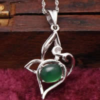 Natural Jade Pendants 925 Sterling Silver with Green Calcedony platinum plated hollow 17x24mm Hole:Approx 3x5mm 10PCs/Lot