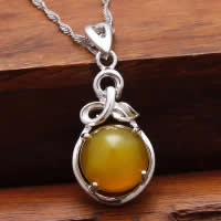 Natural Jade Pendants 925 Sterling Silver with Yellow Calcedony Teardrop platinum plated 12x20mm Hole:Approx 3x5mm 5PCs/Lot