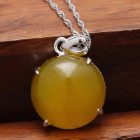 Natural Jade Pendants 925 Sterling Silver with Yellow Calcedony Flat Round platinum plated 16x20mm Hole:Approx 3x5mm 5PCs/Lot