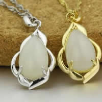925 Sterling Silver Pendant with Hetian Jade Teardrop plated 12.50x20.50mm Hole:Approx 3x5mm 5PCs/Lot