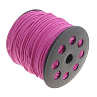 Velveteen Cord, with plastic spool, double-sided, fuchsia pink, 3x1.50mm, Length:100 Yard, Sold By PC