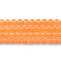 Dyed Jade Beads Round orange Length:Approx 15 Inch