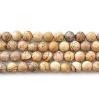 Natural Picture Jasper Beads, Round, different size for choice, Length:Approx 15 Inch, Sold By Lot