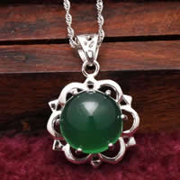 Natural Jade Pendants 925 Sterling Silver with Green Calcedony Flower platinum plated 18x18mm Hole:Approx 3x5mm 5PCs/Lot