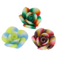 Кабошоны из полимерной глины, полимерный клей, Форма цветка, Связанный вручную, плоской задней панелью, разноцветный, 11x6mm, 100ПК/сумка, продается сумка
