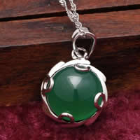 Natural Jade Pendants 925 Sterling Silver with Green Calcedony Flat Round platinum plated 15x15mm Hole:Approx 3x5mm 5PCs/Lot