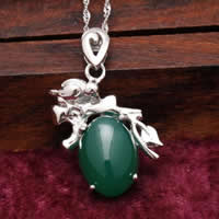 Natural Jade Pendants 925 Sterling Silver with Green Calcedony Flat Oval platinum plated 19x22mm Hole:Approx 3x5mm 5PCs/Lot
