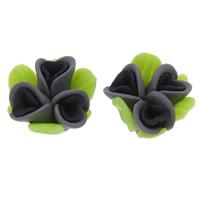 Бусины из полимерной глины, полимерный клей, Форма цветка, Связанный вручную, 15x10mm, отверстие:Приблизительно 1mm, 100ПК/сумка, продается сумка