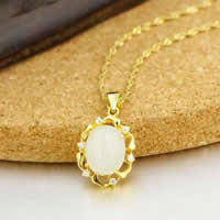 925 Sterling Silver Pendant with Hetian Jade Flat Oval real gold plated micro pave cubic zirconia 13x17mm Hole:Approx 3x5mm 3PCs/Lot