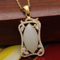 925 Sterling Silver Pendant with Hetian Jade Rectangle real gold plated micro pave cubic zirconia   hollow 16x25mm Hole:Approx 3x5mm 2PCs/Lot