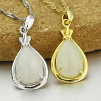 925 Sterling Silver Pendant with Hetian Jade Teardrop plated 11.50x20.50mm Hole:Approx 3x5mm 5PCs/Lot