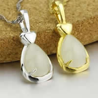 925 Sterling Silver Pendant with Hetian Jade Teardrop plated 11x25.50mm Hole:Approx 3x5mm 5PCs/Lot