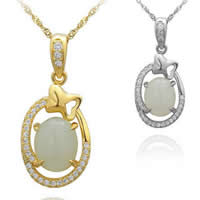 925 Sterling Silver Pendant with Hetian Jade Flat Oval plated micro pave cubic zirconia 12.93x21.67mm Hole:Approx 3x5mm 3PCs/Lot