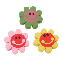 Wood Beads, Flower, printing, mixed colors, 21x5mm, Hole:Approx 2mm, Approx 550PCs/Bag, Sold By Bag