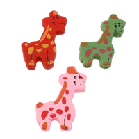 Wood Pendants, Giraffe, printing, mixed colors, 23x32x5mm, Hole:Approx 2mm, Approx 710PCs/Bag, Sold By Bag