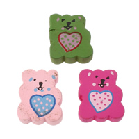 Wood Beads, Bear, printing, with heart pattern, mixed colors, 17x20x6mm, Hole:Approx 2mm, Approx 500PCs/Bag, Sold By Bag