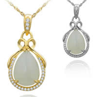 925 Sterling Silver Pendant with Hetian Jade Teardrop plated micro pave cubic zirconia 15x22.90mm Hole:Approx 3x5mm 3PCs/Lot