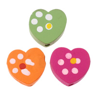 Wood Beads, Heart, printing, with round spot pattern, mixed colors, 18x17x6mm, Hole:Approx 2mm, Approx 625PCs/Bag, Sold By Bag