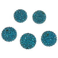 Rhinestone Clay Pave Beads, Round, with 150 pcs rhinestone & with A grade rhinestone, 14mm, Hole:Approx 2mm, 5PCs/Bag, Sold By Bag