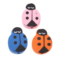 Wood Beads, Ladybug, printing, with round spot pattern, mixed colors, 14x19x6mm, Hole:Approx 2mm, Approx 830PCs/Bag, Sold By Bag