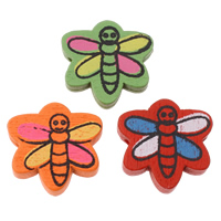 Wood Beads, Dragonfly, printing, mixed colors, 20x19x5mm, Hole:Approx 2mm, Approx 830PCs/Bag, Sold By Bag