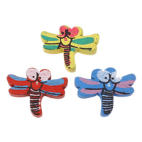 Wood Beads, Dragonfly, printing, mixed colors, 26x20.50x5mm, Hole:Approx 2mm, Approx 830PCs/Bag, Sold By Bag