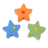 Wood Beads, Star, with round spot pattern, mixed colors, 15x15x8mm, Hole:Approx 2mm, Approx 1250PCs/Bag, Sold By Bag