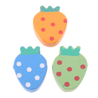 Wood Beads, Strawberry, printing, with round spot pattern, mixed colors, 14.50x19x6mm, Hole:Approx 2mm, Approx 500PCs/Bag, Sold By Bag