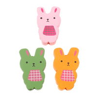 Wood Beads, Rabbit, printing, mixed colors, 18x29x6mm, Hole:Approx 2mm, Approx 330PCs/Bag, Sold By Bag