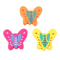 Wood Beads, Butterfly, printing, mixed colors, 23x20x5mm, Hole:Approx 2mm, Approx 1000PCs/Bag, Sold By Bag
