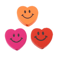 Wood Beads, Heart, printing, mixed colors, 17.50x17x6mm, Hole:Approx 2.5mm, Approx 625PCs/Bag, Sold By Bag