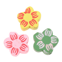Wood Beads, Flower, printing, mixed colors, 19x19x6mm, Hole:Approx 2mm, Approx 500PCs/Bag, Sold By Bag